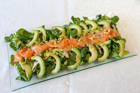 cornsalad: Closeup of healthy salmon salad with avocado and fresh organic Corn salad;  M?che, Lamb\