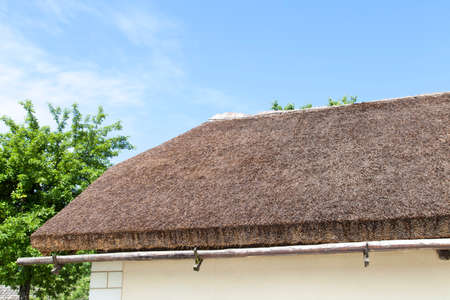 whose: House whose roof were maded from straw reed Stock Photo