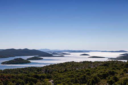 kornat: Beautiful view on Kornati national park, paradise islands, archipelago in Dalmatia, Croatia, space for text, high resolution photo Stock Photo