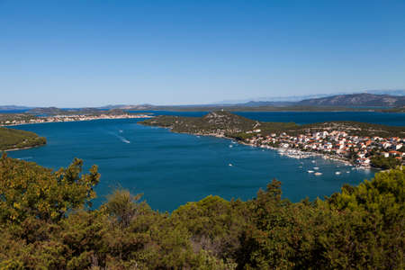 betina: Beautiful view on Tisno, Betina, Lovisca, on island Murter, Dalmatia, Croatia, space for text, high resolution photo