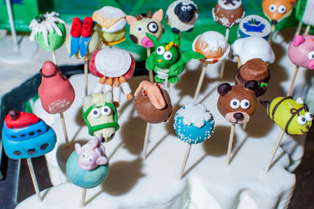 cake pops: Hand made delicious sweet dessert cake pops in the form of animals, dragon, skis, donut, selective focus