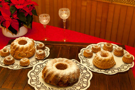 Slovenian Potica, Traditional sweet Roll with wallnuts, almonds, rosins… Stock Photo