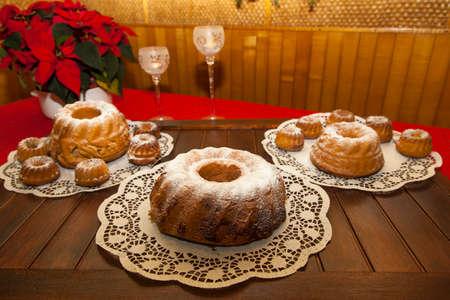 slovenian: Slovenian Potica, Traditional sweet Roll with wallnuts, almonds, rosins� Stock Photo