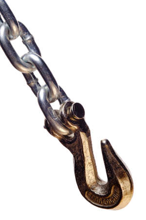 isolated metal chain and heavy hook photo