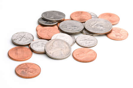 pile of US coins Stock Photo