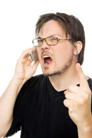 a man using a cell phone on a white background Stock Photo