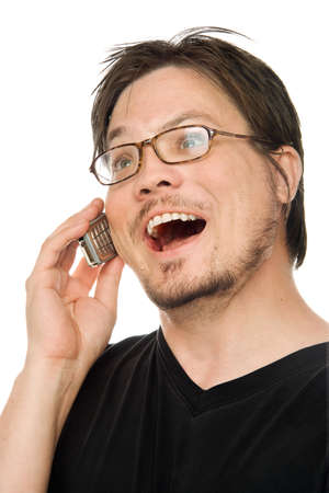 a man using a cell phone on a white background Imagens