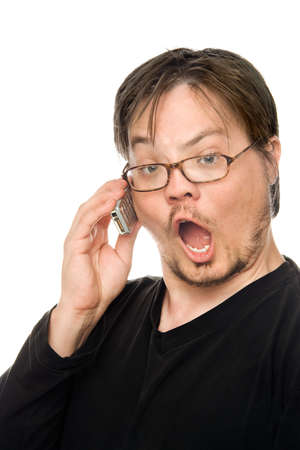a man using a cell phone on a white background photo