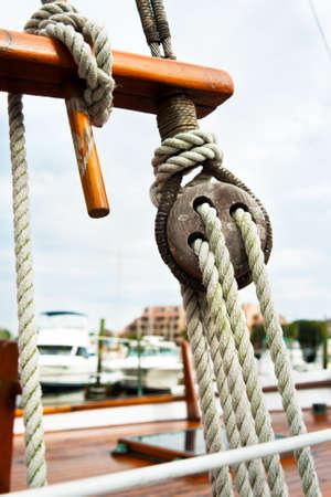 rigging: old sailboat rigging Stock Photo