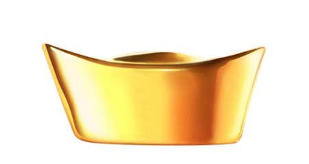 ingots: Gold ingot with white background Stock Photo