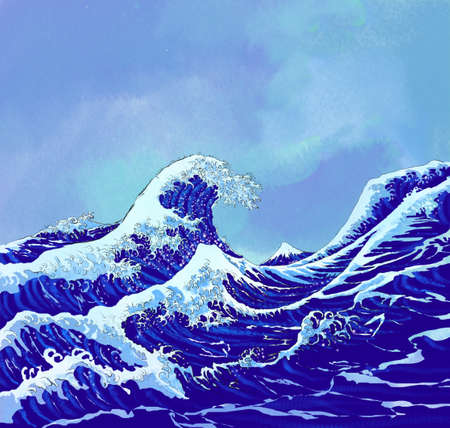 white headed: japanese sea waves with blue sky Stock Photo