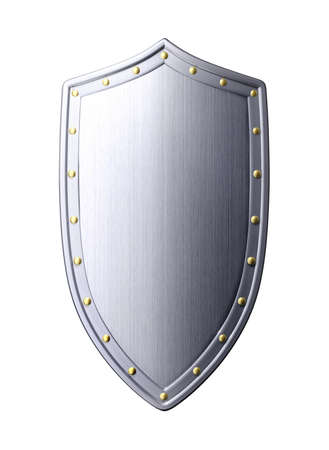 Heavy metal and steel silver grey shield with gold steel ball in white background