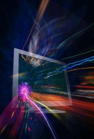 colorful thread through with computer in fantasy shutter style dark blue background 版權商用圖片