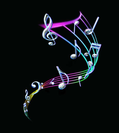 yellow note: Colorful Music notes with a staff in black background