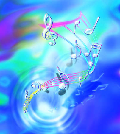 music theory: transparency music notes in fantasy rippling background