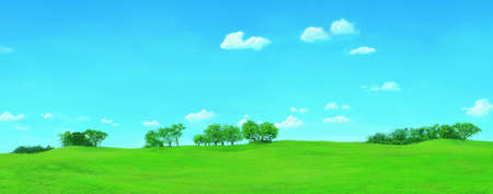 greensward: green lawn with big trees and white cloud blue sky Stock Photo