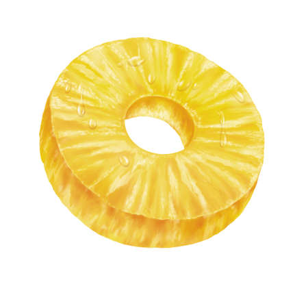 pineapple slice: juicy fresh slice of pineapple with white background