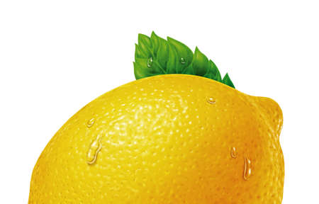 juicy fresh water drops of lemon with white background Stock Photo - 11818694