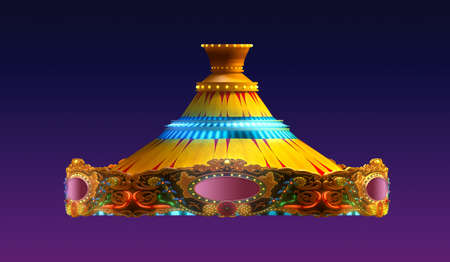 carousel horse: carousel merry go round  in evening view isolated on night view purple red sky background