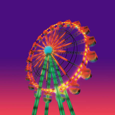 theme parks: ferris wheel in evening view isolated on night view purple red sky background Stock Photo