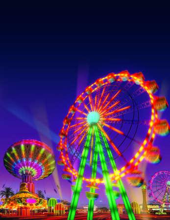 themapark motor ritten spel in evening view geïsoleerd op nachtzicht blauw paars hemel achtergrond