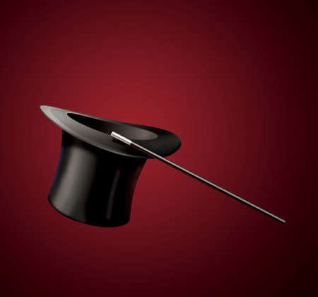 magical equipment: magic black hat and magic wand isolated on red background Stock Photo