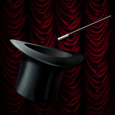 magic black hat and magic wand isolated on red stage curtain