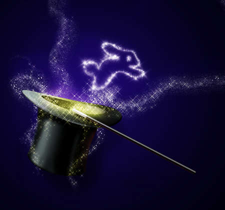 magical equipment: light rabbit jump out from magic black hat  and magic wand isolated on purple blackground Stock Photo