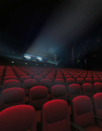 cinema screen: Empty red of seat and rows in cinema with projector lighting Stock Photo