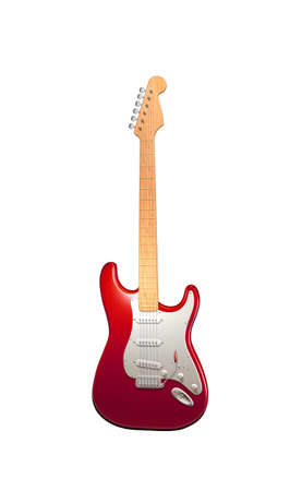 electric guitar: red white electric guitar  isolated on white background