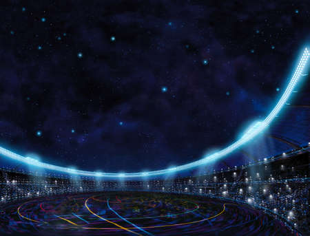 sport place site stadium with color lines above in blue stars space background