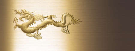 a chinese gold dragon on golden metal and iron textures background Stock Photo - 14365835