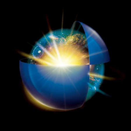 macrocosm: universe space in a transparent ball and in a half blue ball isolated on black background