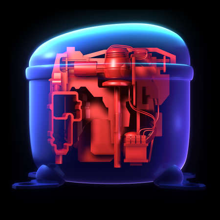 a part of machine in rice cooker concept isolated on black background photo