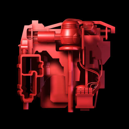 electrical part: a red heart concept electric machine isolated on black background