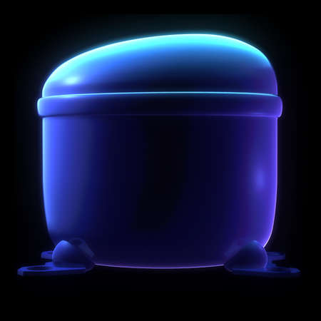 cooker: a rice cooker machine concept isolated on black background