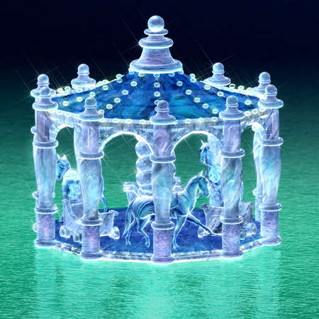 3d rendering for merry-go-round of ice sculpture with concise background photo