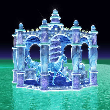 ice sculpture: 3d rendering for merry-go-round of ice sculpture with concise background