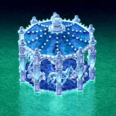 top view 3d rendering for merry-go-round of ice sculpture with concise background