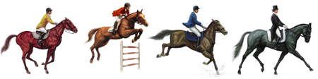 jumping fence: Un conjunto de hípica británica y la ilustración Jockey