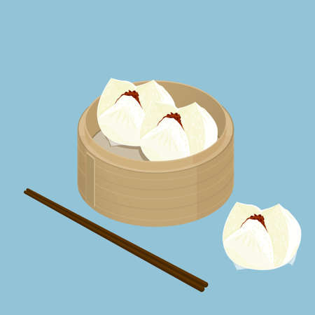 cantonese: A illustration of Chinese dim sum, Char Siu Bao, Barbecued pork bun