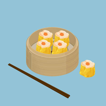 dim sum: A illustration of Chinese dim sum, Shu Mai