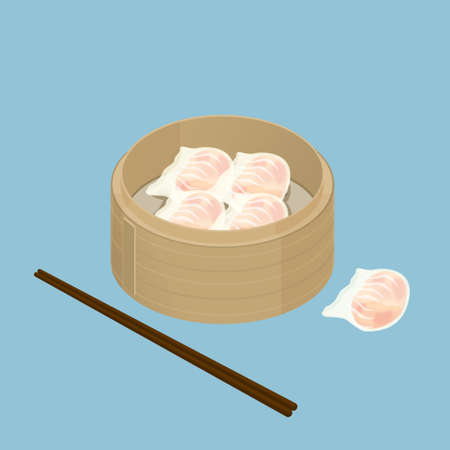 sum: A illustration of Chinese dim sum, Har Gau, Shrimp Dumpling