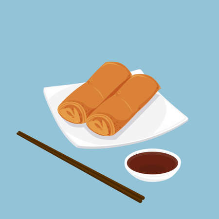 A illustration of Chinese dim sum, Spring rolls  Stock Photo