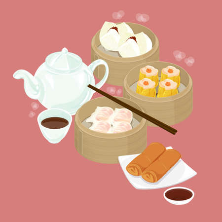 dim sum:  A illustration of Chinese dim sum