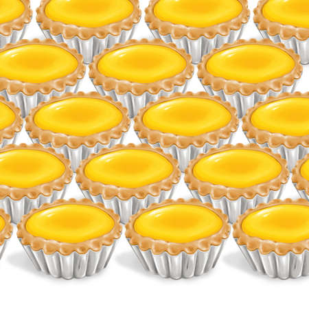 sum: A illustration of hong kong style food egg tarts Stock Photo