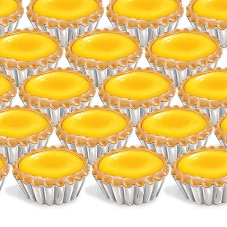tarts: A illustration of hong kong style food egg tarts Stock Photo