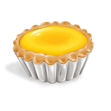 A illustration of hong kong style food egg tart