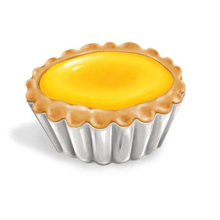 A illustration of hong kong style food egg tart