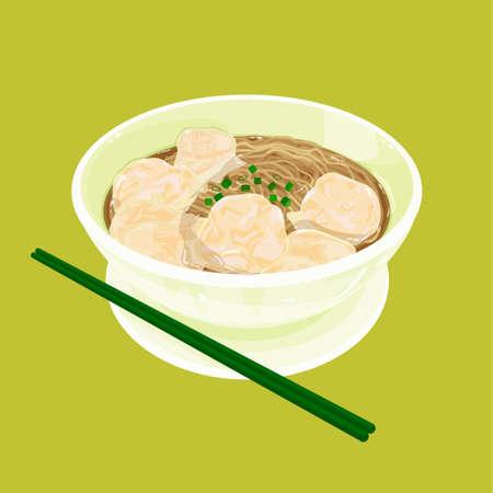Hong Kong スタイル食品ワンタンのヌードルのイラスト